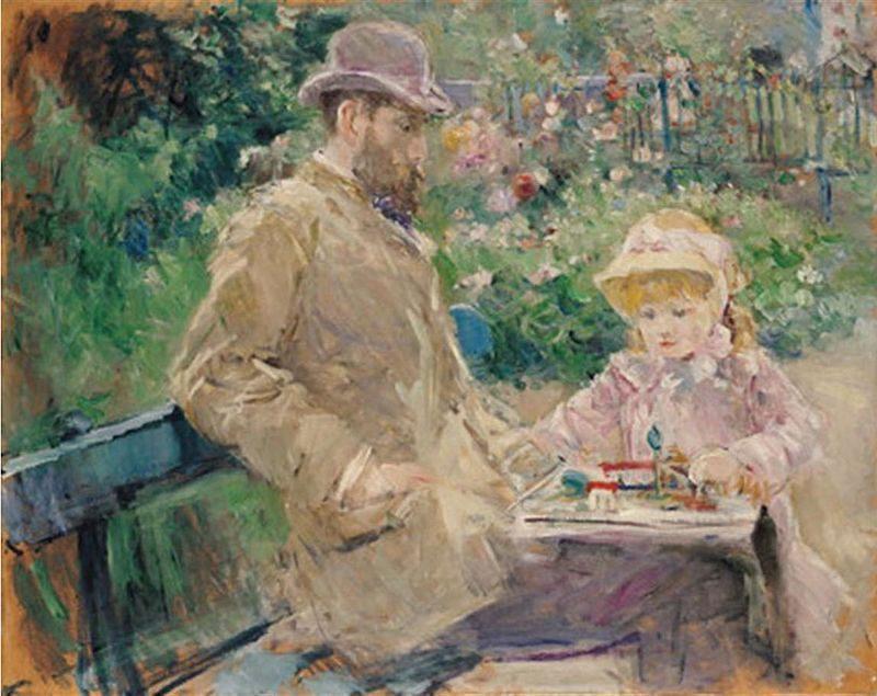 Contoh Karya Aliran Impresionis: Eugene Manet and His Daughter at Bougival oleh Berthe Morisot, gambar asli diperoleh melalui: wikipedia.com