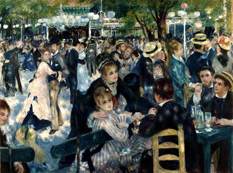 Contoh Karya Aliran Impresionis: Dance at Le moulin de la Galette oleh Pierre-Auguste Renoir, gambar asli diperoleh melalui: wikipedia.com