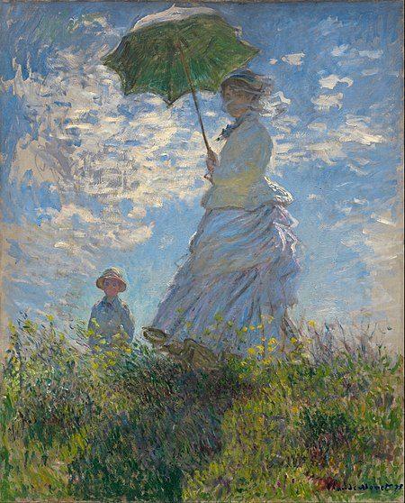 Contoh karya aliran impresionisme: Woman with a Parasol – Madame Monet and Her Son oleh Claude Monet, gambar asli diperoleh melalui wikipedia.com