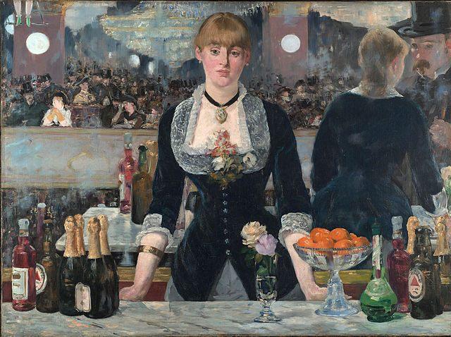 Contoh karya aliran realisme: A Bar at the Folies Bergere oleh Edouard Manet, gambar asli diperoleh melalui wikipedia.com