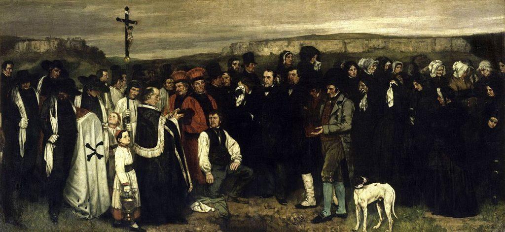Contoh karya aliran realisme: A Burial at Ornans oleh Gustave Courbet, gambar asli diperoleh melalui: wikipedia.com