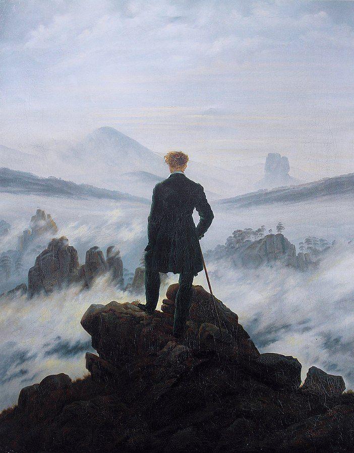 Wanderer Above the Sea of Fog (Pengelana di atas Lautan Kabut) oleh Caspar David Friedrich, gambar diperoleh melalui wikipedia.com