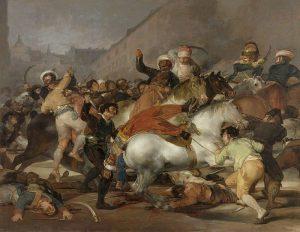 Contoh karya seni lukis aliran romantisisme: The Second of May 1808 oleh Fransisco Goya, gambar asli diperoleh melalui wikipedia.com