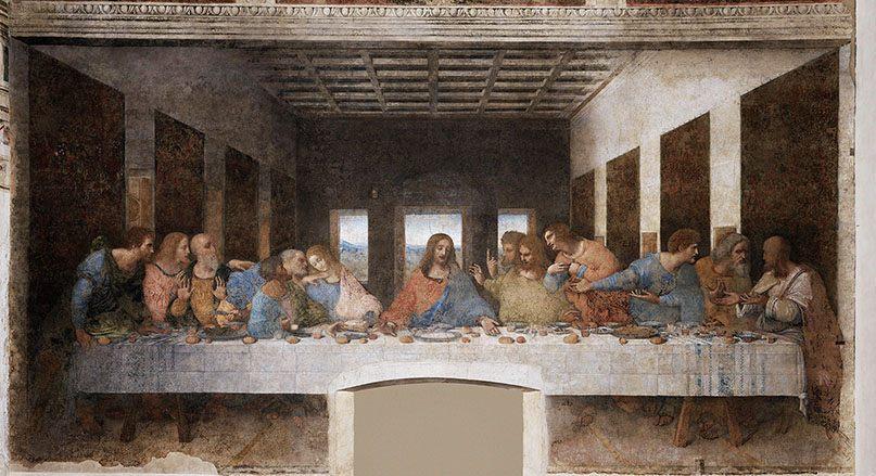 Contoh karya aliran seni rupa renaisans: The Last Supper oleh Leonardo da Vinci, gambar asli diperoleh melalui wikipedia.com