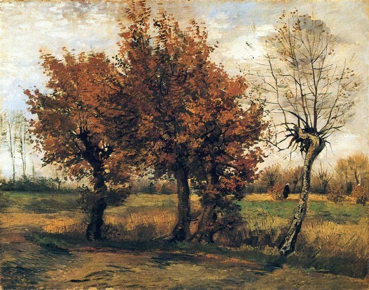 autumn landscape with four trees, Vincent van Gogh
