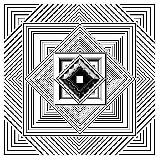 Contoh pengerjaan tugas Nirmana Dwimatra yang menggunakan asas: keseimbangan, ritma, kontras, dan penekanan.