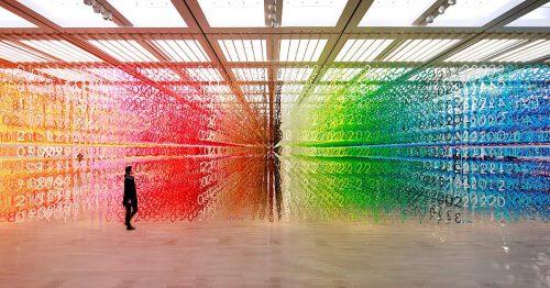 """contoh seni kontemporer, seni instalasi """"forest of numbers"""" oleh: emmanuelle moureaux"""