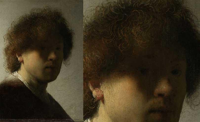 Contoh Teknik Sgraffito, Rembrandt menggunakannya untuk membuat detail highlight rambut.