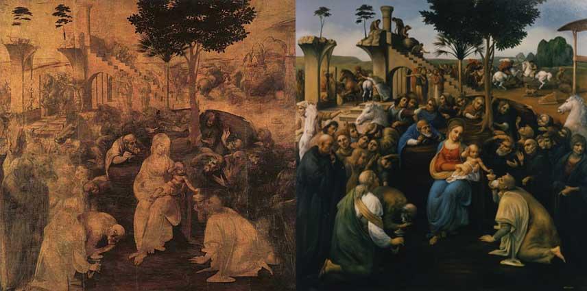 """Contoh Underpainting (kiri) dan yang telah diwarnai (kanan) pada lukisan Leonardo Da Vinci """"Adoration in the Uffizi"""", rekonstruksi pewarnaan lukisan oleh: David Jean"""