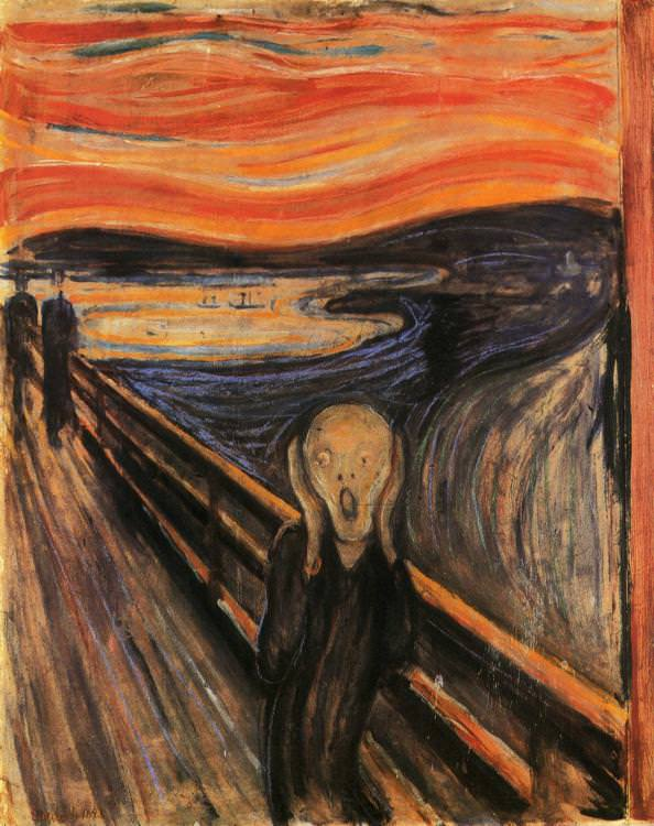 Contoh aliran Ekspresionisme: The Scream oleh: Edvard Munch (1893-1910)