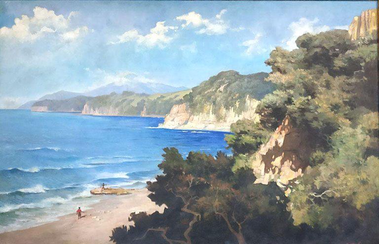 Contoh lukisan naturalis : Pantai flores, oleh: Basuki Abdullah