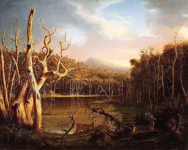 contoh lukisan naturalisme : Lake with Dead Trees (Catskill) oleh: Cole Thomas