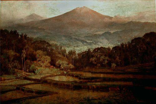 Contoh lukisan naturalisme : Pemandangaan Gunung oleh: Abdullah Suriosubroto