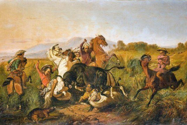 Perburuan Banteng. oleh Raden Saleh