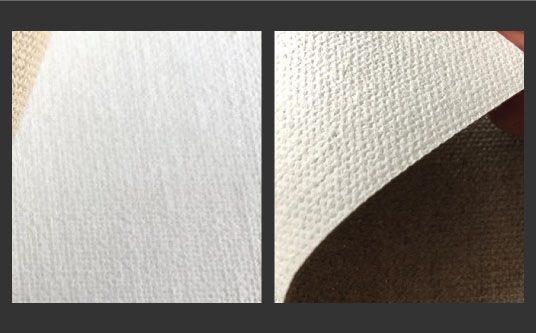 Permukaan kanvas halus (kiri) dan permukaan kanvas yang kasar (kanan). aliexpress.com: ayman art supplier
