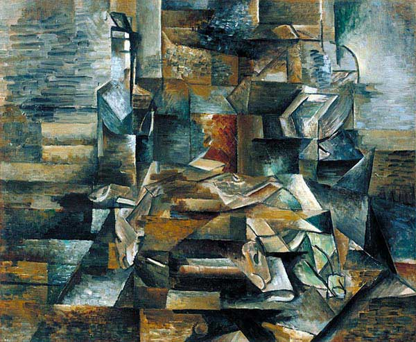 Contoh Karya Kubisme: Bottle and Fishes (1910-12) oleh Georges Braque