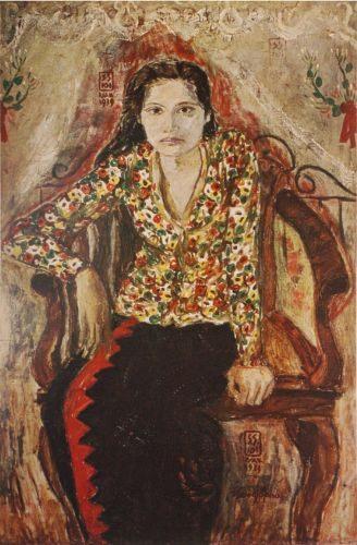 seni rupa modern indonesia di depan kelambu terbuka oleh Soedjojono. lukisanku.id