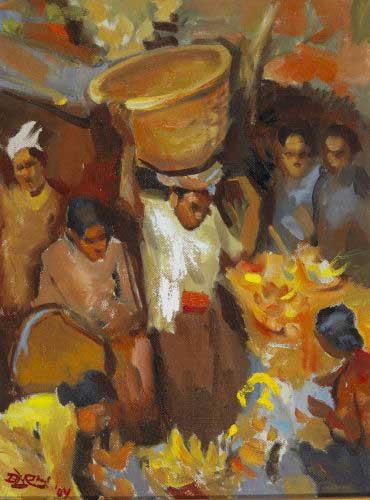 di pasar #1 lukisan oleh Barli Sasmitawinata