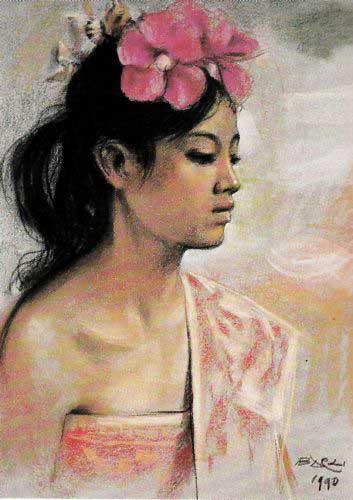 Gadis Bali (1990) contoh lukisan Barli Sasmitawinata