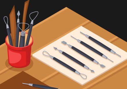 alat butsir untuk membuat seni patung dari bahan lunak