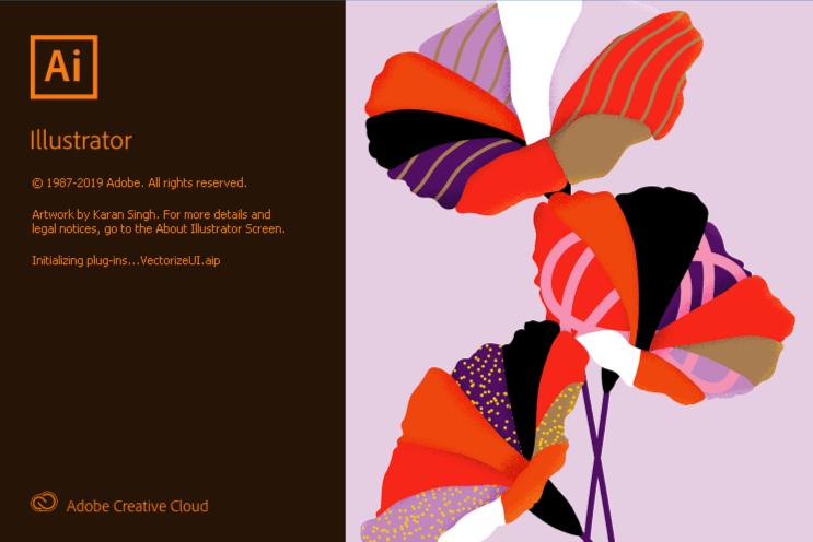 Contoh gambar ilustrasi dalam loading screen Adobe Illustrator.