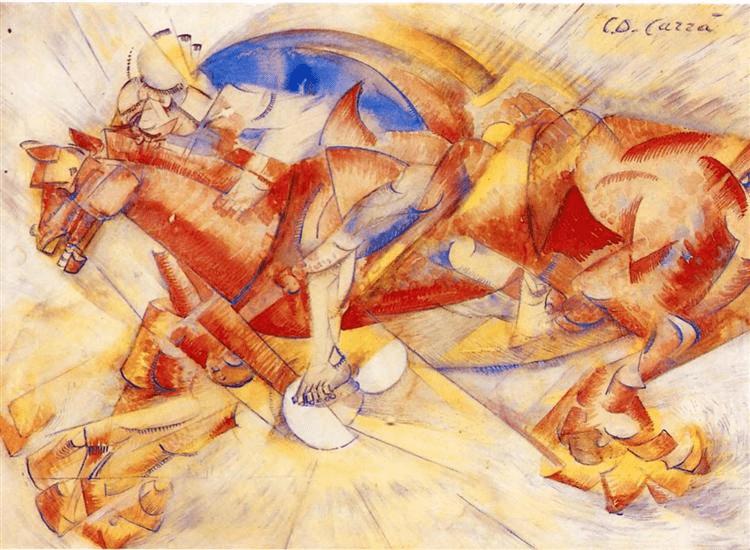 contoh-lukisan-futurisme-the-red-horseman-1913-carlo-carra