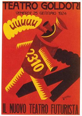 Gambar futurisme berupa poster karya Depereo.
