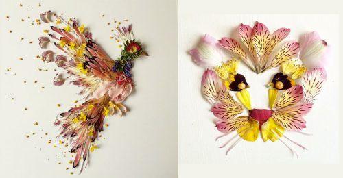 Contoh kolase menggunakan bunga