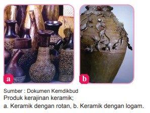 Contoh produk kerajinan berbasis campuran dari keramik