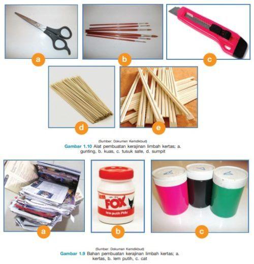 alat dan bahan kerajinan limbah kertas