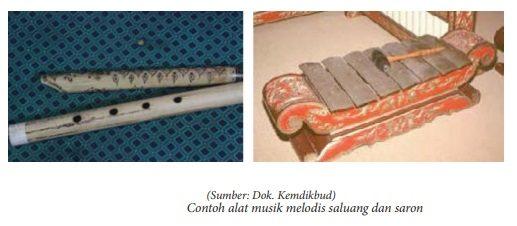contoh alat musik melodis berupa saluang dan saron